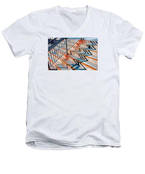 Zig Zag Shadows On Train Station Steps Men's V-Neck T-Shirt