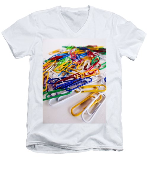 Men's V-Neck T-Shirt featuring the photograph 100 Paperclips by Julia Wilcox