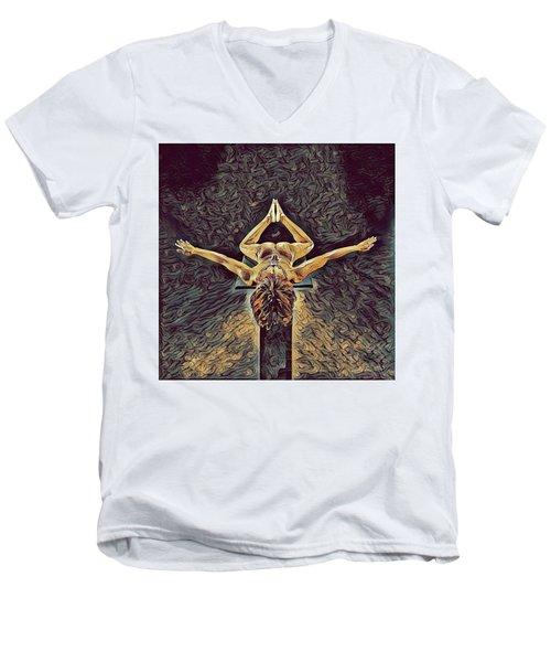 1038s-zac Dancer Flying On Pedestal Nudes In The Style Of Antonio Bravo  Men's V-Neck T-Shirt
