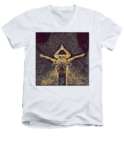 1038s-zac Dancer Flying On Pedestal Nudes In The Style Of Antonio Bravo  Men's V-Neck T-Shirt