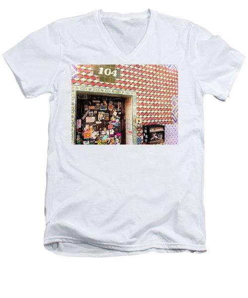104 Brooklyn New York Door   Men's V-Neck T-Shirt by Funkpix Photo Hunter