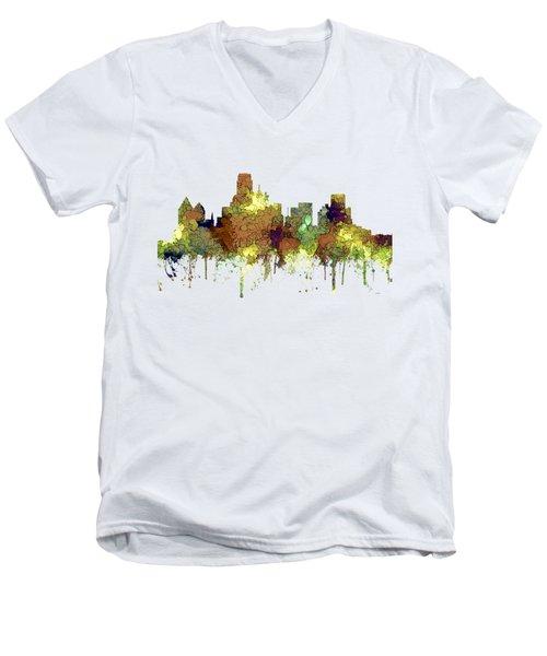 Dallas Texas Skyline Men's V-Neck T-Shirt by Marlene Watson
