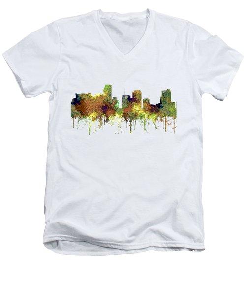 Miami Florida Skyline Men's V-Neck T-Shirt by Marlene Watson