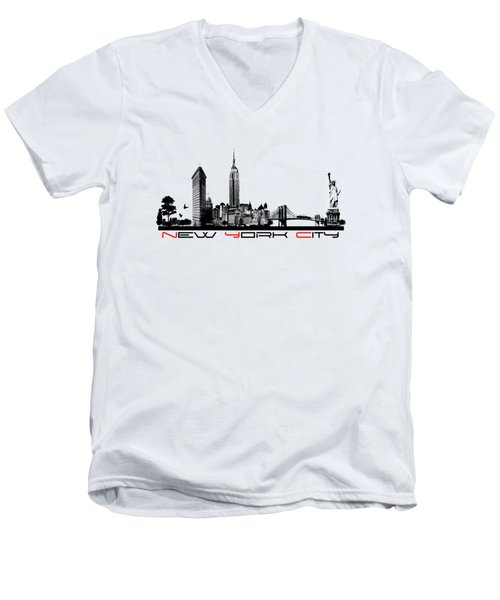 New York City Skyline  Men's V-Neck T-Shirt by Justyna JBJart