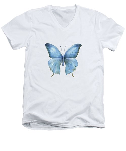 111 Blue Elijah Butterfly Men's V-Neck T-Shirt