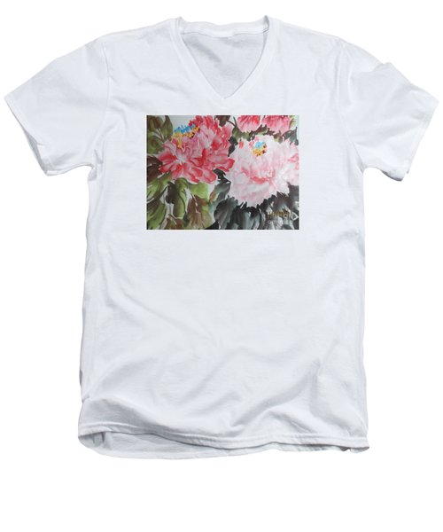 Men's V-Neck T-Shirt featuring the painting 11192015-0756 by Dongling Sun