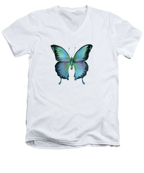 12 Blue Emperor Butterfly Men's V-Neck T-Shirt