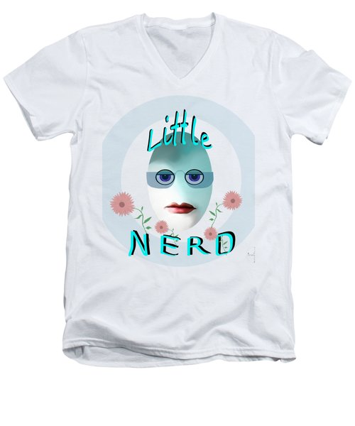1283 - Little Nerd Tshirt Design Men's V-Neck T-Shirt by Irmgard Schoendorf Welch