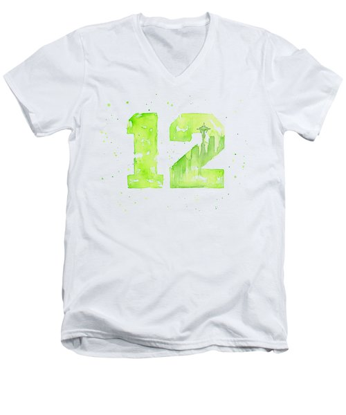 12th Man Seahawks Art Go Hawks Men's V-Neck T-Shirt by Olga Shvartsur