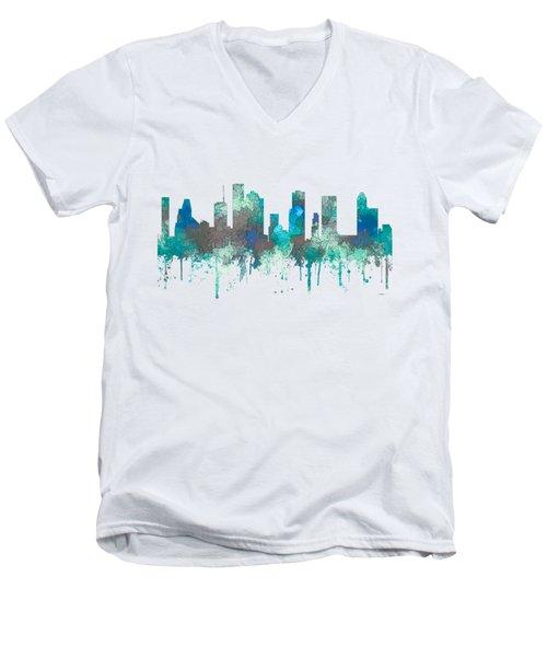 Men's V-Neck T-Shirt featuring the digital art Houston Texas Skyline by Marlene Watson