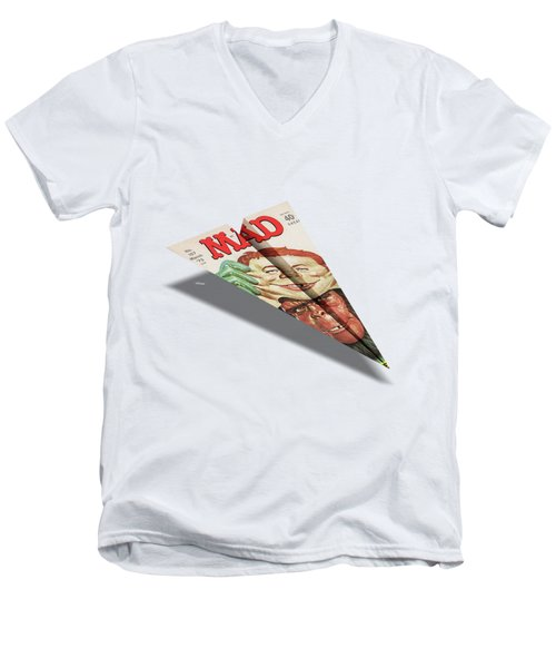 157 Mad Paper Airplane Men's V-Neck T-Shirt by YoPedro