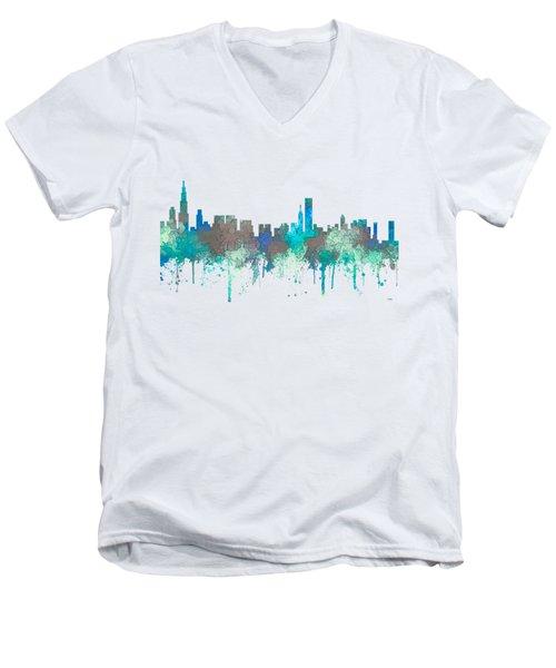Men's V-Neck T-Shirt featuring the digital art Chicago Illinois Skyline by Marlene Watson