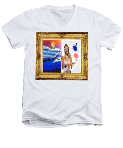 Men's V-Neck T-Shirt featuring the digital art Cover Art For Gallery by Diana Riukas