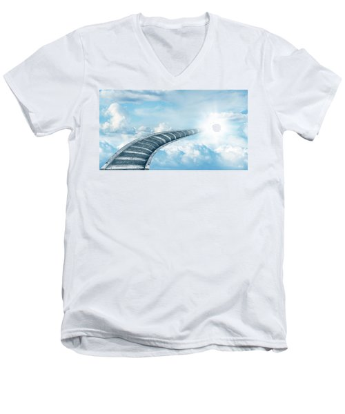Men's V-Neck T-Shirt featuring the digital art Stairway To Heaven by Les Cunliffe