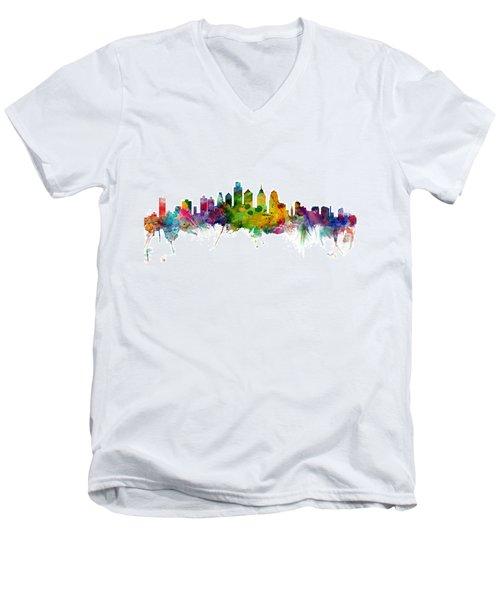 Philadelphia Pennsylvania Skyline Men's V-Neck T-Shirt by Michael Tompsett