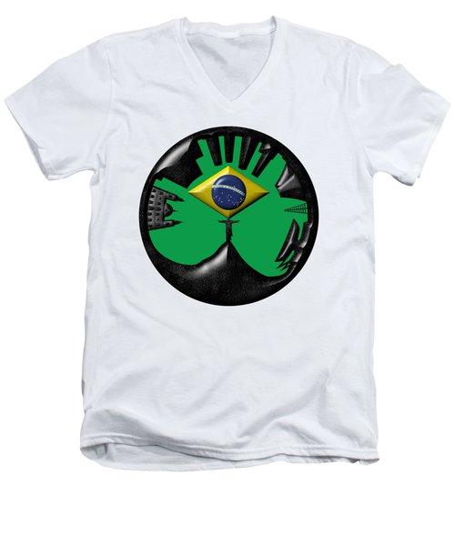 Rio De Janeiro Skyline Men's V-Neck T-Shirt by Michal Boubin
