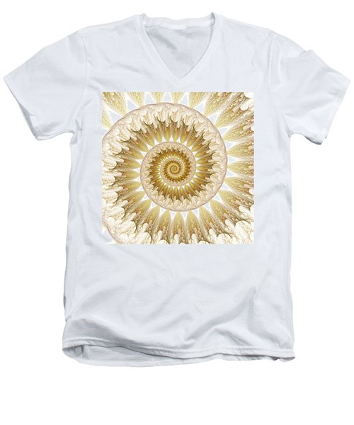 Men's V-Neck T-Shirt featuring the digital art 18 Karat by Lea Wiggins