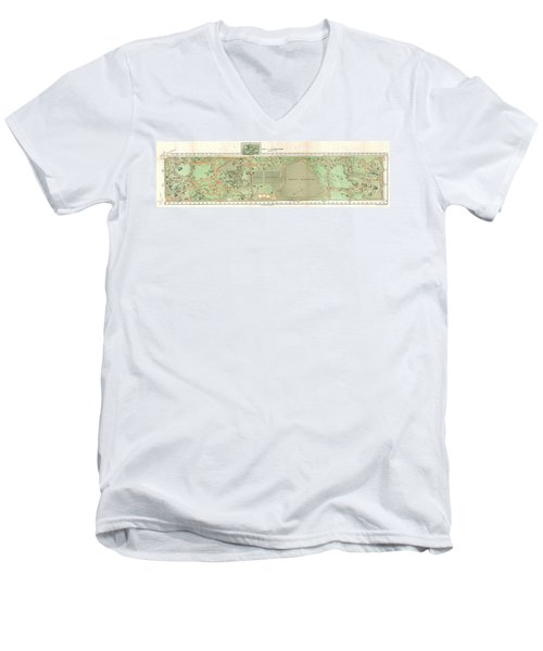 1870 Vaux And Olmstead Map Of Central Park New York City Men's V-Neck T-Shirt