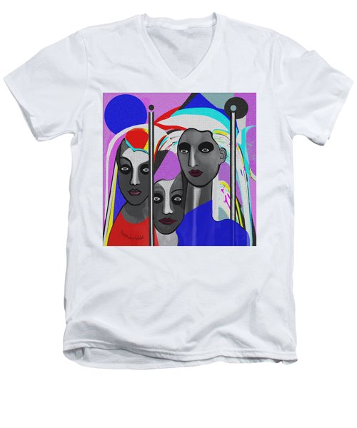 Men's V-Neck T-Shirt featuring the digital art 1875 - To Walk Tall by Irmgard Schoendorf Welch