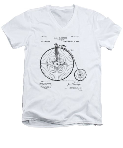 Men's V-Neck T-Shirt featuring the digital art 1881 Velocipede Bicycle Patent Artwork - Vintage by Nikki Marie Smith