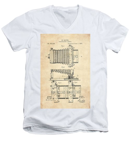 1897 Camera Us Patent Invention Drawing - Vintage Tan Men's V-Neck T-Shirt