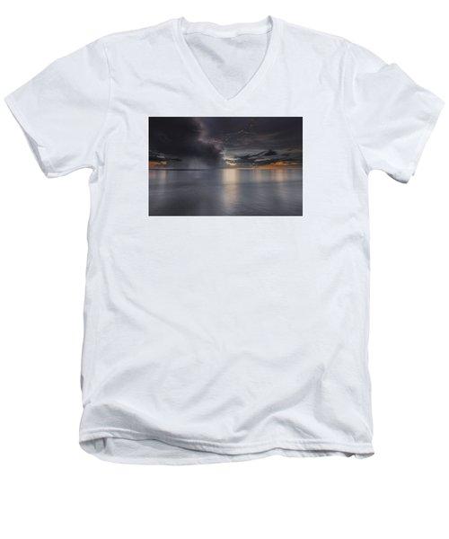 Sunst Over The Ocean Men's V-Neck T-Shirt by Peter Lakomy