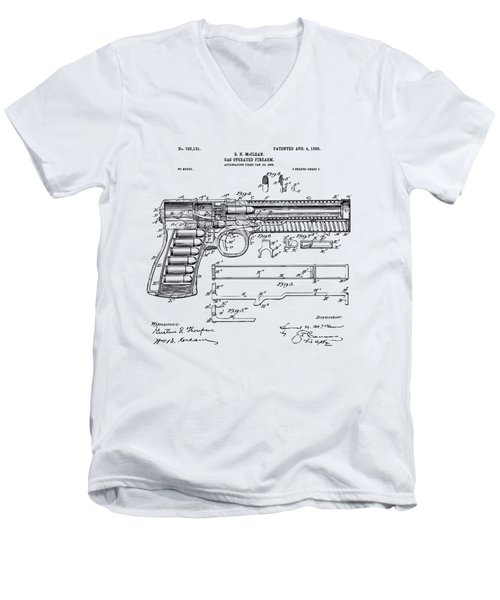 1903 Mcclean Pistol Patent Artwork - Vintage Men's V-Neck T-Shirt