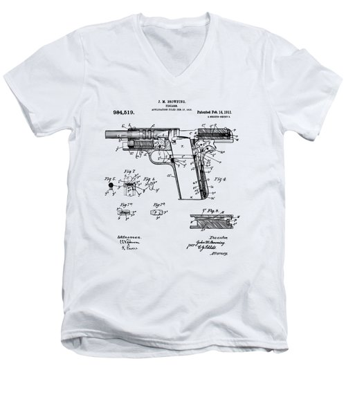 Men's V-Neck T-Shirt featuring the drawing 1911 Colt 45 Browning Firearm Patent 2 Artwork Vintage by Nikki Marie Smith