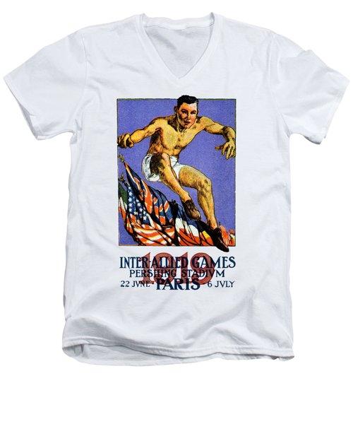 1919 Allied Games Poster Men's V-Neck T-Shirt by Historic Image