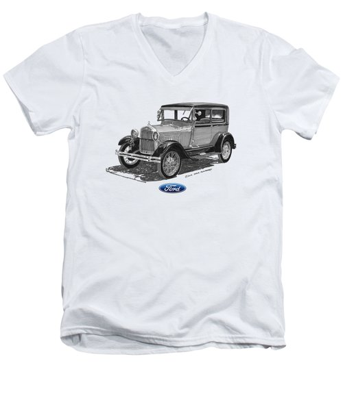 Model A Ford 2 Door Sedan Men's V-Neck T-Shirt