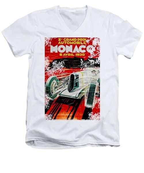 1930 Monaco Grand Prix Poster Men's V-Neck T-Shirt