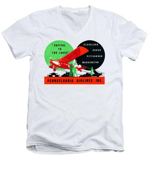 1930 Penn Airlines Poster Men's V-Neck T-Shirt