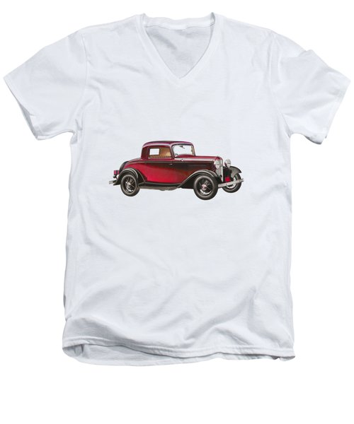 1932 Ford Deluxe Men's V-Neck T-Shirt by John Haldane