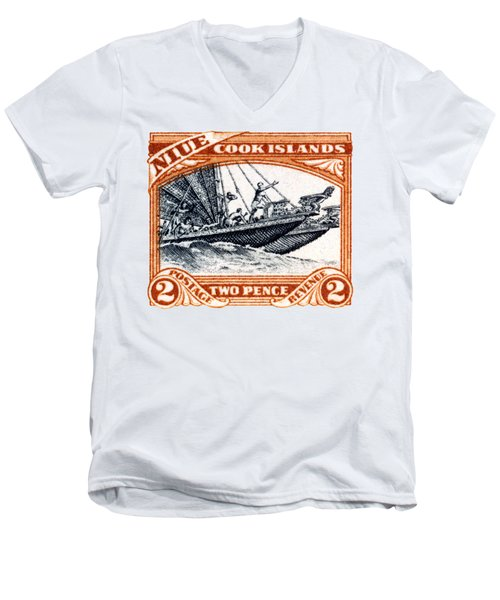 Men's V-Neck T-Shirt featuring the painting 1932 Niue Island Stamp by Historic Image