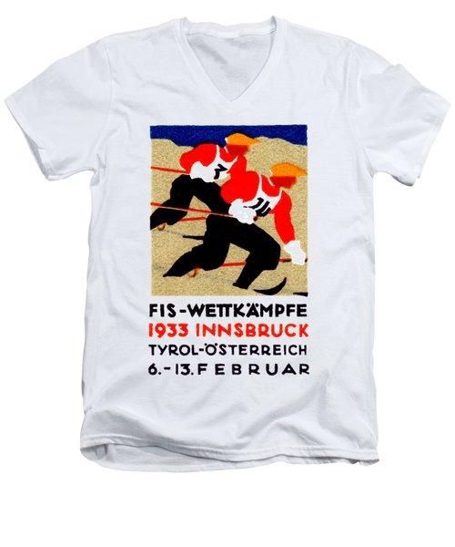 1933 Austrian Ski Race Poster Men's V-Neck T-Shirt