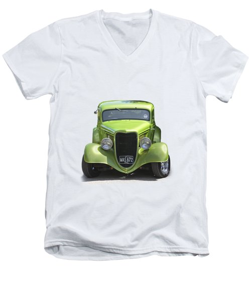 1934 Ford Street Hot Rod On A Transparent Background Men's V-Neck T-Shirt