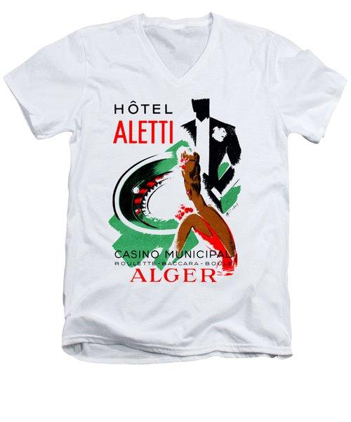 1935 Hotel Aletti Casino Algeria Men's V-Neck T-Shirt by Historic Image