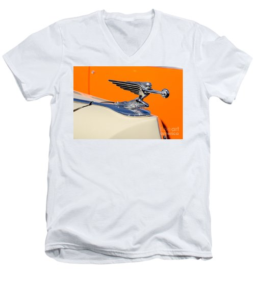 Men's V-Neck T-Shirt featuring the photograph 1936 Packard Hood Ornament by Aloha Art