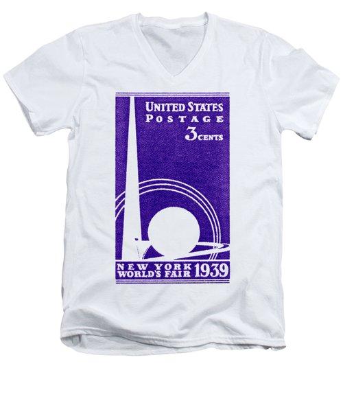 1939 New York Worlds Fair Stamp Men's V-Neck T-Shirt by Historic Image