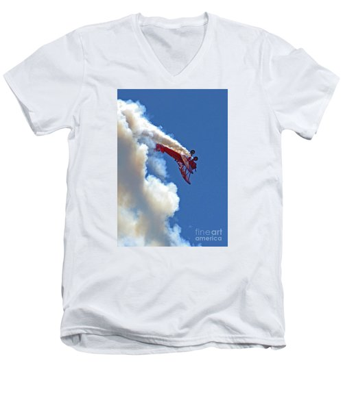 1940 Boeing Stearman Biplane Stunt 2 Men's V-Neck T-Shirt