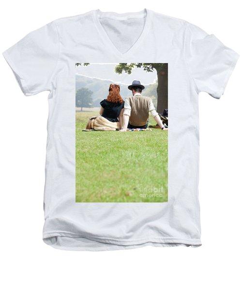 1940s Couple Sitting In The Sunshine Men's V-Neck T-Shirt by Lee Avison