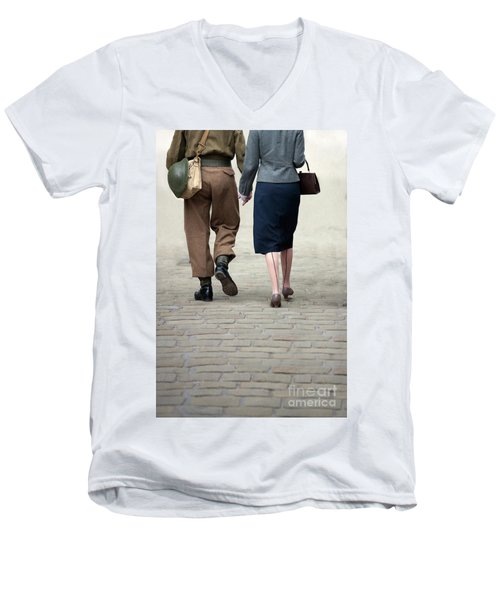 1940s Couple Soldier And Civilian Holding Hands Men's V-Neck T-Shirt by Lee Avison