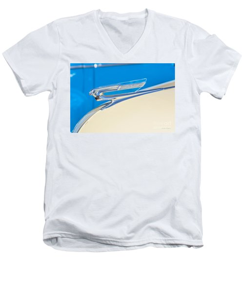 Men's V-Neck T-Shirt featuring the photograph 1941 Chevy Hood Ornament by Aloha Art