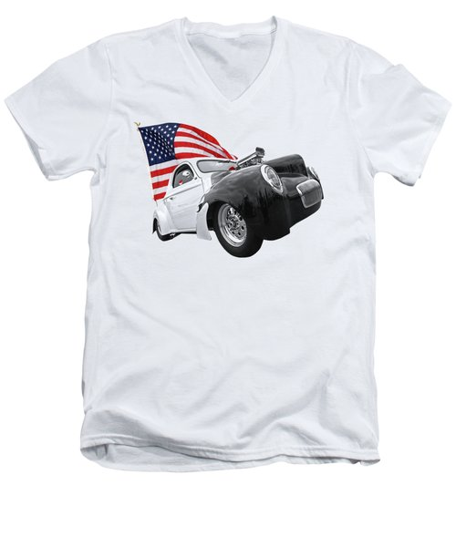 Men's V-Neck T-Shirt featuring the photograph 1941 Willys Coupe With Us Flag by Gill Billington