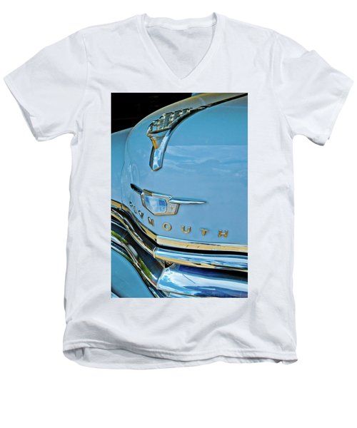 Men's V-Neck T-Shirt featuring the photograph 1950 Plymouth Coupe by Linda Unger
