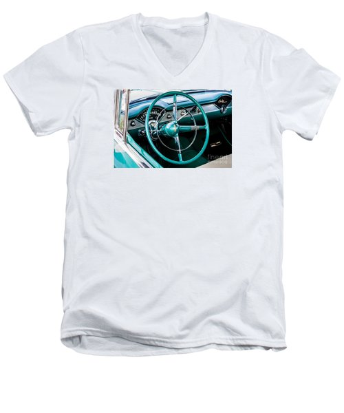 Men's V-Neck T-Shirt featuring the photograph 1955 Chevrolet Bel Air by M G Whittingham