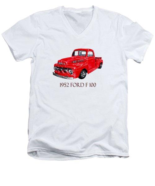 Big Red 1952 Ford F-100 Pick Up Men's V-Neck T-Shirt