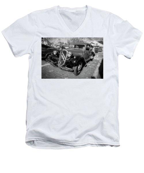 1953 Citroen Traction Avant Bw Men's V-Neck T-Shirt by Rich Franco