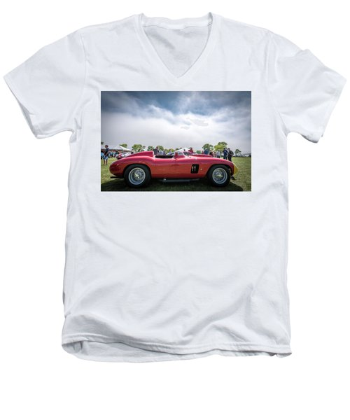 Men's V-Neck T-Shirt featuring the photograph 1956 Ferrari 290mm by Randy Scherkenbach