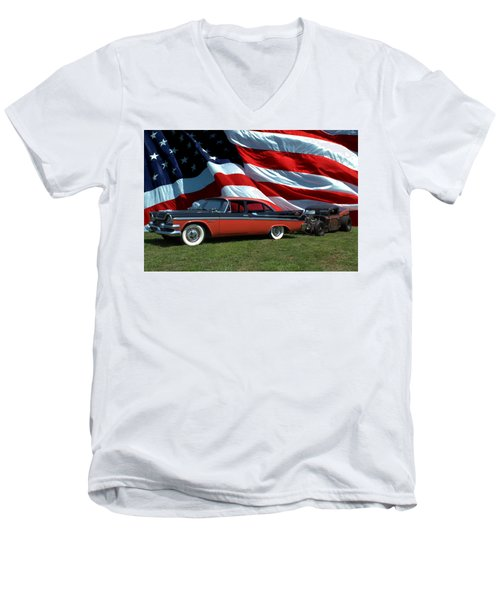 1958 Dodge Coronet And 1935 International Dragster Men's V-Neck T-Shirt